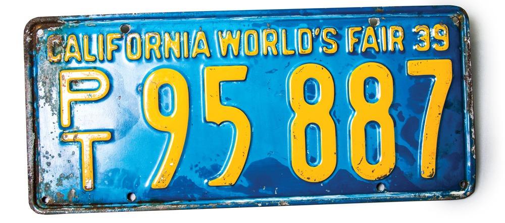 California 1939 World's Fair license plate